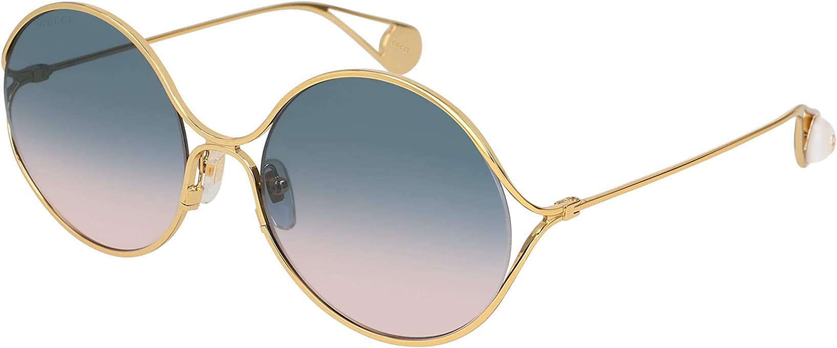 Gucci Women's GG0253S Round Sunglasses, Gold, 58 mm