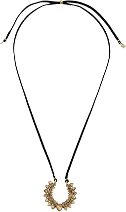 Lucky Brand Stone Set Leather Necklace