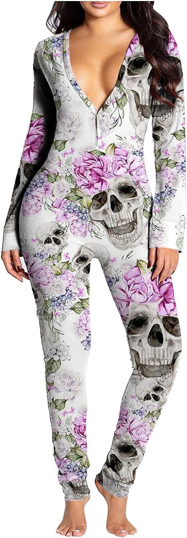 Bodycon Pajamas Rompers Onesies Women with Back Butt Flap Halloween Sleepwear Jumpsuit Long Sleeve Rompers