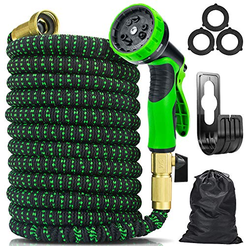 Wikomo Expandable Garden Hose with 9 Function Nozzle,Extra Strength Fabric ,3/4' Solid Brass Fittings, 50FT Strongest Flexible Water Hose