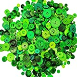Alfykym 600-700Pcs Green Buttons for Crafts Bulk Green Craft Buttons Assorted Size for Sewing DIY Crafts Decoration