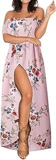 Summer Beach Maxi Dresses for Women Off The Shoulder Floral Boho Sundresses