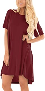 CNFIO Long Sleeve Casaul Tshirt Dress with Pockets V Neck Leopard Flowy Dresses for Women
