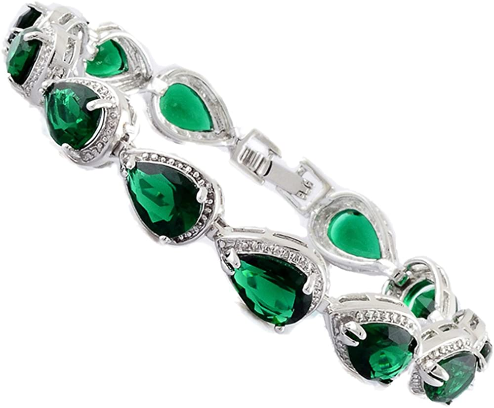 RIZILIA Tennis Bracelet & Pear Cut CZ [4 Colors available] in White Gold Plated, 7