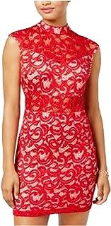 B Darlin Juniors' Mock-Neck Illusion-Lace Bodycon Dress