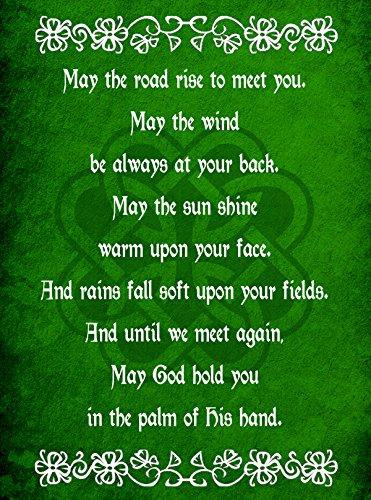 Hat Shark Irish Blessing Prayer May The Road Rise Up Green Celtic Knot 18x24 - Vinyl Print Poster