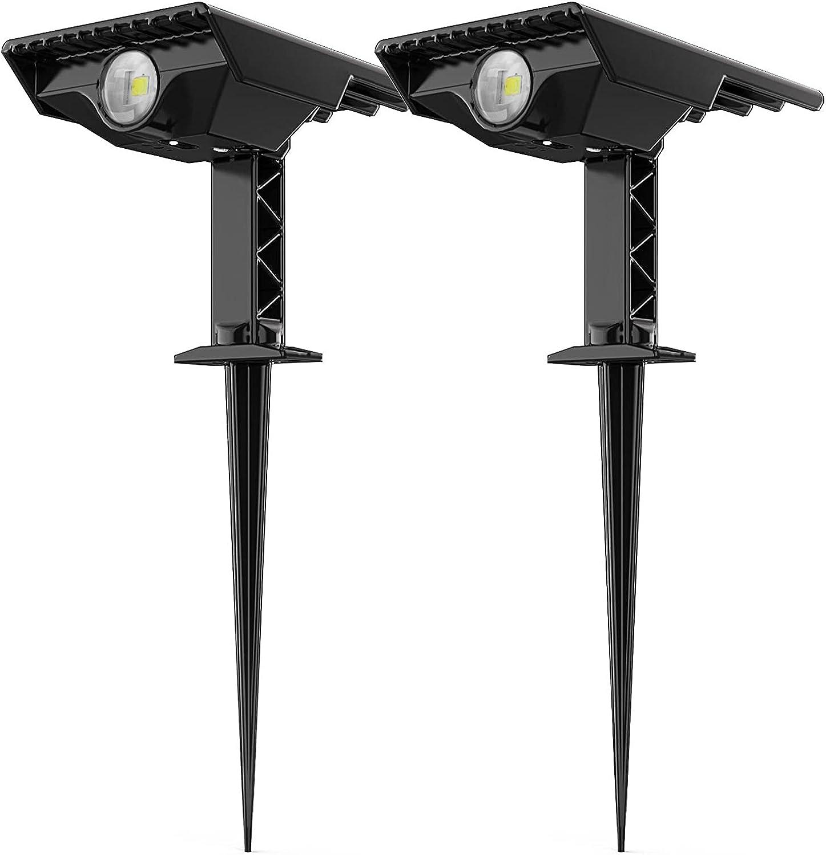 Solar Spot Lights Outdoor, Hidiya Adjustable LED Beam Angle Outdoor Solar Spotlight, Wall&Ground Mounted Landscape Spotlights Solar Powered for Flag Tree Yard Garden, Cool White (2-Pack)