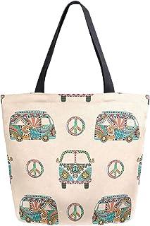 TFONE Hippie Yoga Sloth Flower Women Handbag Fashion Shopping Travel Casual with Zipper Tote Shoulder Bag