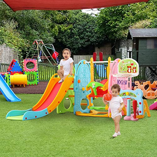 ZhiLoeng 7 in 1 Slide Swing Set Mountaineering,Basketball,Football,Indoor/Outdoor Toddler Toy Children Toy Playset, Playground Equipment Set Home Playground Kids Activity