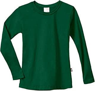 Girls' Cotton Long Sleeve Tee Tshirt for School and Lounging USA Made