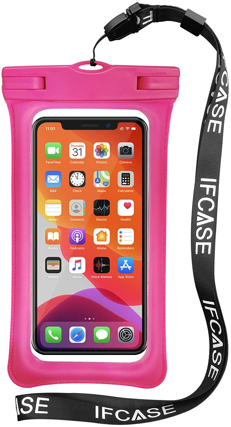 Universal Waterproof Case, IFCASE TPU Phone Dry Bag Pouch for iPhone 12 Pro Max, 11 XS XR X 6 7 SE, Samsung Galaxy S21 S20 S10 S9 Plus, S21 Ultra 5G, A72 A52, LG Stylo 6 5 (Rose) 2 Pack