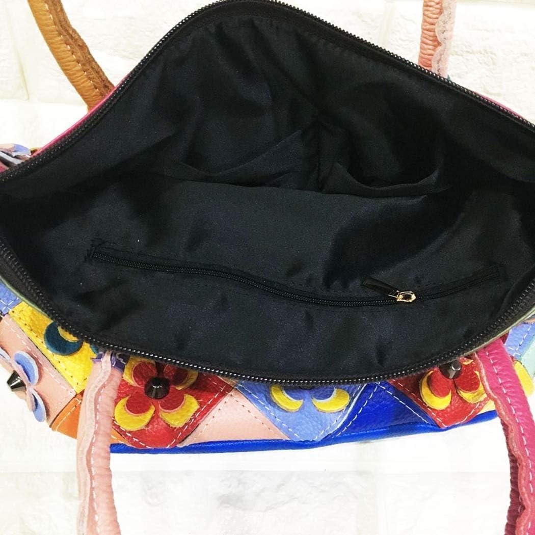 Lfny-bagSac à Main en Cuir pour Femme Sac à Main de Couleur Fleurie Sac à Main pour Femme Sac Messenger Sac en Cuir Blackandwhite