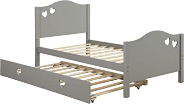 Twin Size Bed with Trundle Platform Beds Loving Shape Solid Wood Bed for Kids/Teens/Adults (Gray)