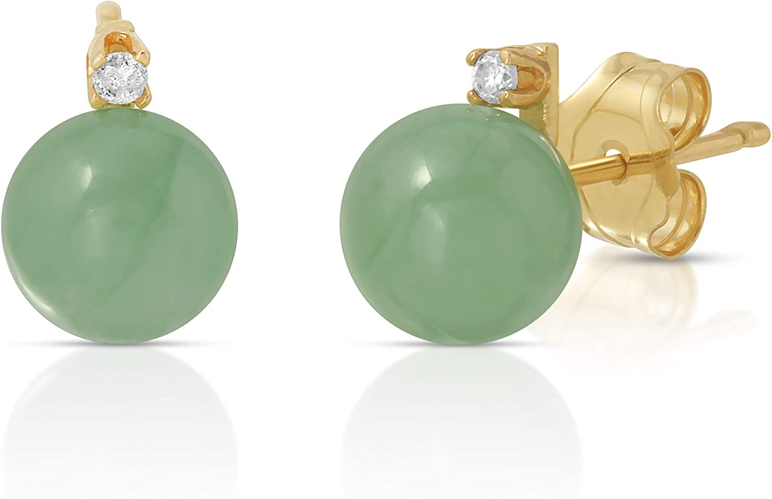 Regalia by Ulti Ramos 14K Gold Real Jade 2pcs Earring and Pendant Set with .03cts of White Diamonds 17