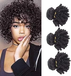 Kaibeilu Short Bob Brazilian Funmi Human Hair Bundles Bouncy Curly Hair Weave Afro Kinky Curly Virgin Hair Weave Unprocessed 8A Cheap Virgin Hair Extensions 100g/PC 1B Black (8 8 8 inches)