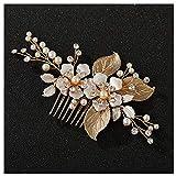 SWEETV Gold Hochzeit Haarkamm-Handgemachte Braut Haarspange Hochzeit Haarschmuck für Frauen