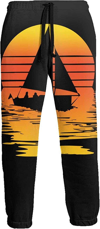 Men's Women's Sweatpants Sailboat Sailing Sunset Athletic Running Pants Workout Jogger Sports Pant