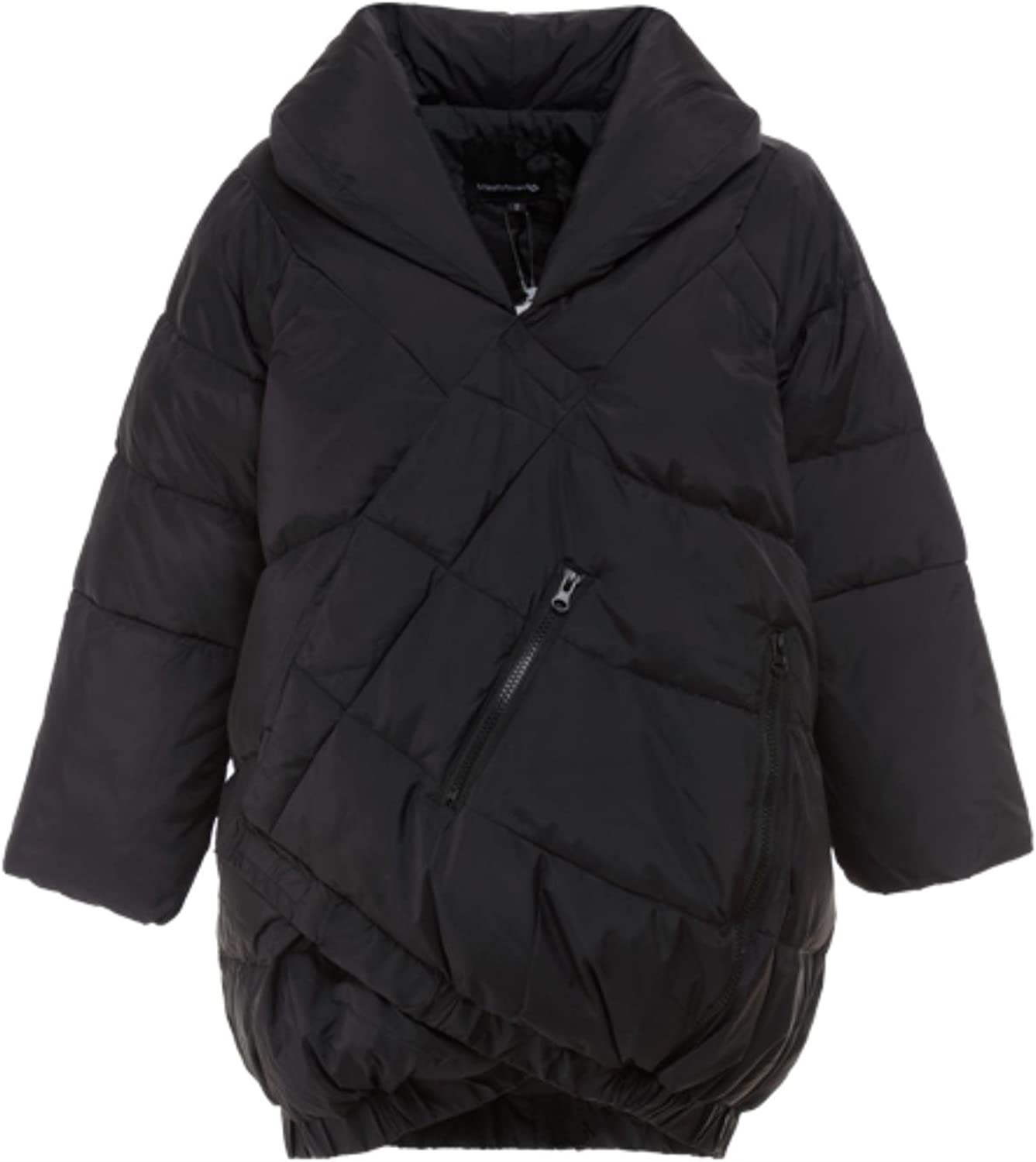 European Fashion Week Catwalk Long Section Black and White Mix color Pregnant Thick Warm Down Jacket