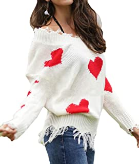 Womens Ripped Sweater V Neck Heart Print Long Sleeve Casual Knit Pullover Top