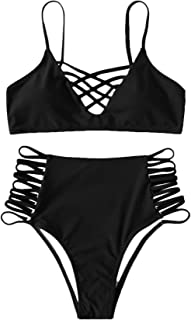 Women's Criss Cross Bikini Caged Strappy Ladder Cutout High Waisted Padded Two Pieces Swimsuit
