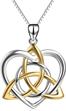 Celtic Love Knot Necklace Jewelry Sterling Silver Good Luck Vintage Triquetra Irish Celtic Love Heart Pendant Necklace for Women Girls