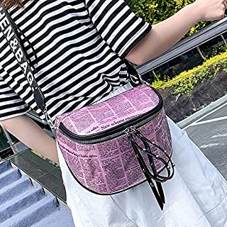Fashion Single-Shoulder Bags Fashion Newspaper Printing Plastic Transparent Jelly Waist Chest Bag Dual-Zipper Single Shoulder Bag Messenger Bag (Orange) (Color : Pink)