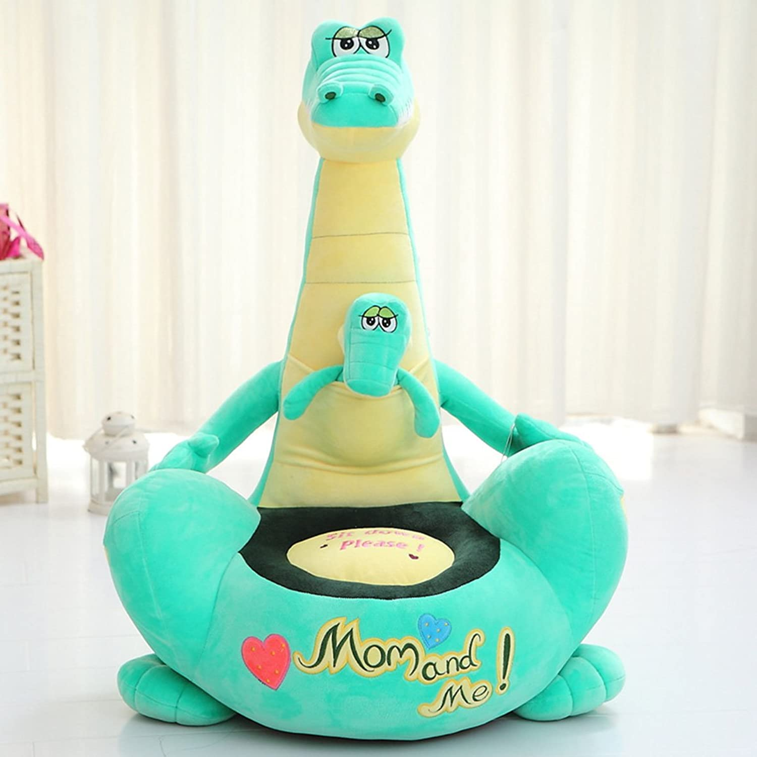 MAXYOYO Soft Velvet Mom and Me Cartoon Dinosaur Washable Kid Bean Bag Sofa Chair Plush,Mom and Me Dinosaur Plush Toy Sofa for Boys and Girls