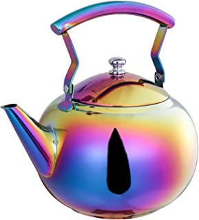 Rainbow Tea Kettle with Infuser for Loose Leaf,Stainless Steel Teapot 2 Liter Coffee Tea Pot Strainer, Colorful Teakettle for Stovetop Induction Stove Top Boiling Water 2 Quart / 68 Ounce by ROYDOM