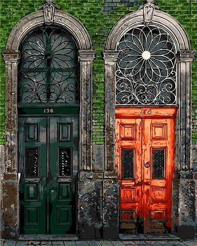 MBYWQ Verf Door Nummers Olieverfschilderij Kleurrijke Fancy Deur Creatieve Poort Deuren Home Decor Handwerk Kamer Decoratie Muur Kunst Oranje(Zonder Framed)