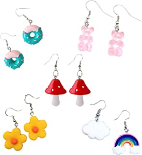 COLORFUL BLING 5 Pairs Funny Dangle Earrings Gummy Bear Mushroom Rainbow Cloud Flower Donut