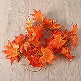 WINOMO 2 Stücke Herbstgirlande mit Ahorn Blättern Tischdeko künstlich Fensterdeko 2.4M - 9
