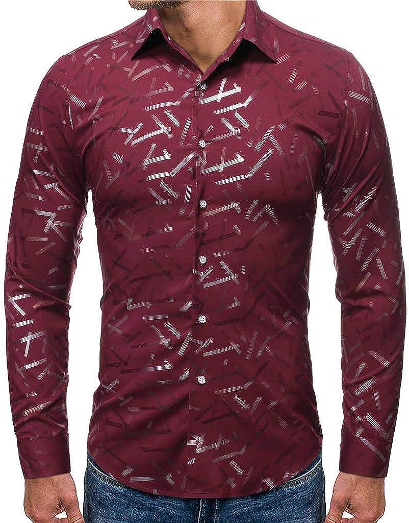 MODOQO Men's Slim Fit Casual Print Button Down Dress Shirt Long Sleeve Tops