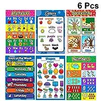 NUOBESTY 教える数字アルファベットポスター6ピース、28×40センチ教育ポスターぶら下げ写真ポスター両面英語写真漫画学習ポスター子供のための赤ちゃん
