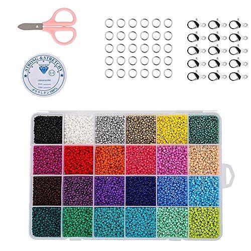 14400 Pezzi Perline Vetro Perline Colorate per Creare Gioielli, per Fai da Te Mini Perle di Braccialetti, Collane, Bigiotteria(2mm 24 Colori)