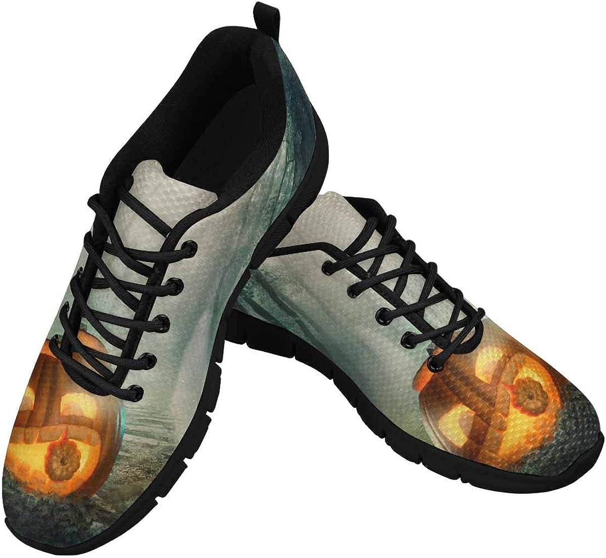 INTERESTPRINT Pumpkin in Dark Halloween Forest Women's Athletic Walking Running Sneakers Comfortable Lightweight Shoes