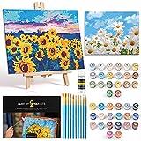 Magicfly Pintar por Numeros con Marco para Adultos Principiante, Flores Girasol, Margarita Kit de DIY Pintura Acrílica con caballete de madera, 10 Pinceles