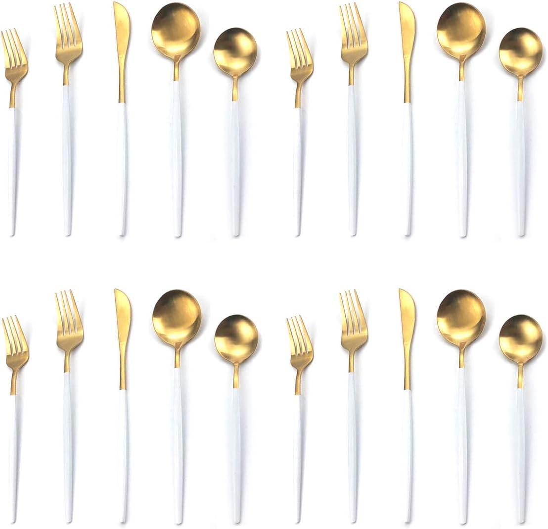 Denver Mall Super intense SALE 20-Piece Silverware Set Uniturcky White Fla Gold Steel Stainless