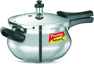 Prestige PRDAH3.3 Deluxe Plus 3.3-Liter New Flat Base Aluminum Pressure Handi for Gas and Induction Stove, Small, Silver