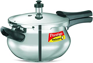 Prestige PRDAH3.3 Deluxe Plus 3.3-Liter New Flat Base Aluminum Pressure Handi for Gas and Induction Stove, Small, Silver (PEE_10708_SIR)