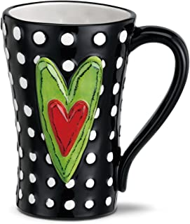 White Dots Heart Red Green Black 15 Ounce Glossy Stoneware Mug With Handle