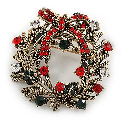 Vintage ispirato rosso/verde chiaro/cristallo di Natale agrifoglio spilla in oro antico tono–42mm D