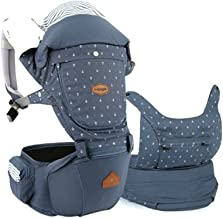 I-angel Miracle Baby Carrier Hipseat Front Backpack Carrier Ergonomic Design for Parents,Sleeping Hood,Organic Cotton teething Pads (Stone-Blue)