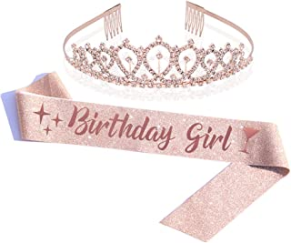 Birthday Girl Sash & Rhinestone Tiara Kit - Rose Gold Glitter Birthday Sash Birthday Gifts for Women Birthday Party Supplies (Rose Gold)