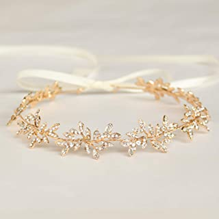 Diamond Garland Bridal Wedding/Sweet Sixteen/Flower Girl/Quinceanera Crown Headdress With Ribbon (Gold)