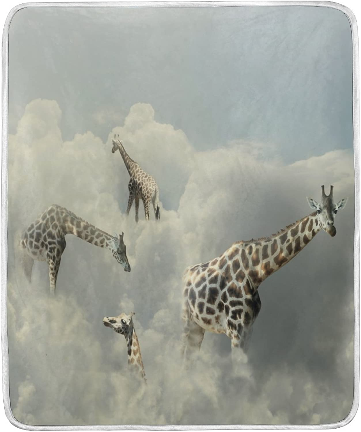 ALAZA Home Decor Funny Giraffe Cloud Blanket Soft Warm Blankets for Bed Couch Sofa Lightweight Travelling Camping 60 x 50 inch Throw Size for Kids Boys Women