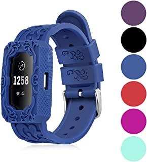 Replacement Bands Compatible for Fitbit Charge 2, IMPAWFAN Silicone Sport Breathable Wristbands with Air Holes, Adjustable Watch Strap with Protective Case for Fitbit Charge 2 HR, Men Women-Navy Blue