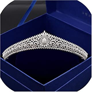Paved Zircon Crown Full Cubic Zirconia Tiara CZ Tiaras Classic Bridal Wedding Hair Accessories Coroa Noiva WIGO1160,1pc