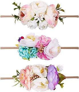 Floral Headbands For Baby Girls Lightweight Flower Nylon Elastic Hair Band For Newborn Infant Toddler