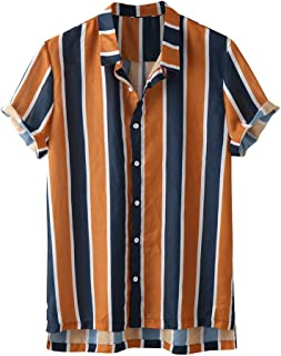 SANFASHION 2020 Newest Summer Men Short Sleeve Shirts Stripe Shirt Top Slim Fit Casual Lightweight Breathable Comfy Soft B...
