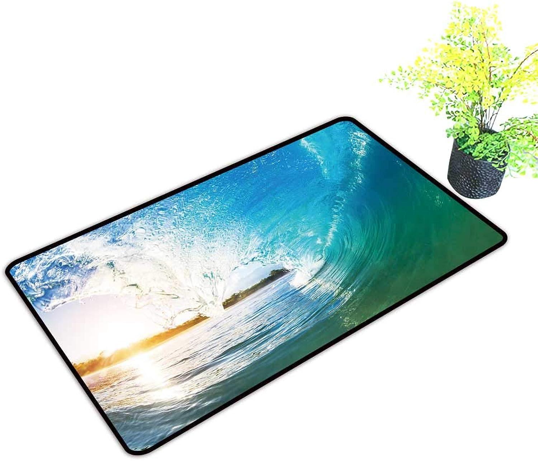 Entrance Door Mat Large Crashing bluee Ocean Wave Dress Up Your Doorway W39 x H19 INCH